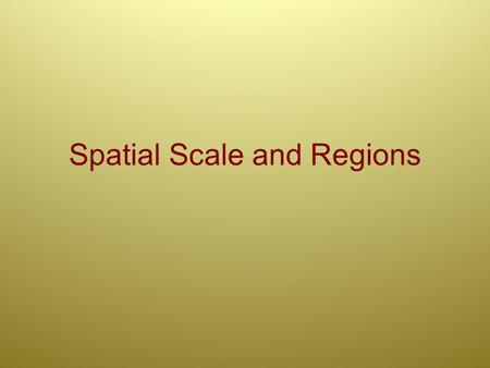 Spatial Scale and Regions. Spatial Scale Aim: Why are geographers concerned with the concept of spatial scale? Do Now: Review: How did we define 'map.