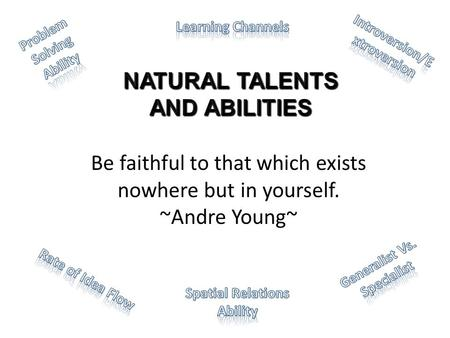 Be faithful to that which exists nowhere but in yourself. ~Andre Young~