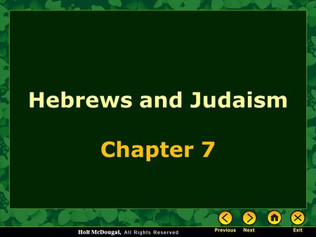 Hebrews and Judaism Chapter 7.
