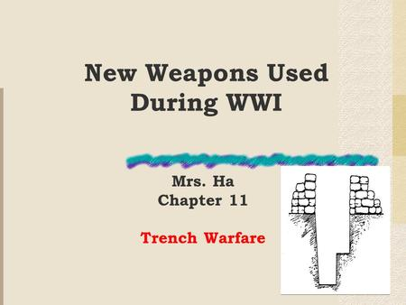 New Weapons Used During WWI Mrs. Ha Chapter 11 Trench Warfare.