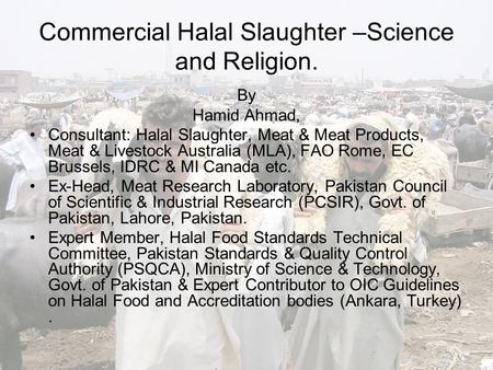 Commercial Halal Slaughter –Science and Religion. By Hamid Ahmad, Consultant: Halal Slaughter, Meat & Meat Products, Meat & Livestock Australia (MLA),