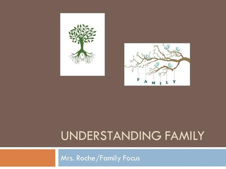 UNDERSTANDING FAMILY Mrs. Roche/Family Focus. Group Activity/Discussion 