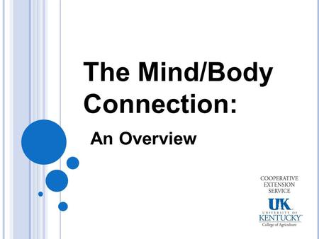 The Mind/Body Connection: An Overview. Program Objectives After this presentation, you will be able to:  Describe physical activities  Understand and.