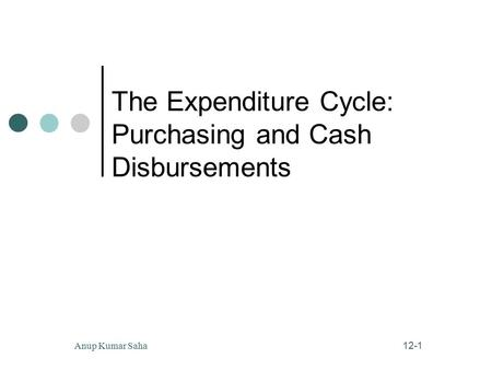 12-1 Anup Kumar Saha The Expenditure Cycle: Purchasing and Cash Disbursements.