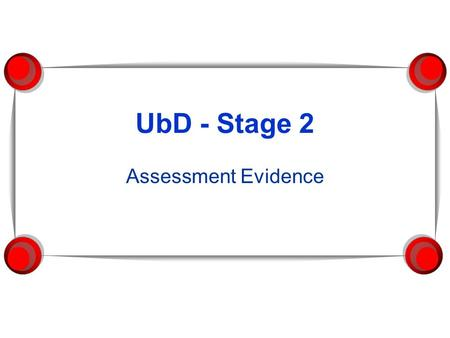 UbD - Stage 2 Assessment Evidence. Our Big Idea Making Best Practices, Common Practice *create a variety of assessments, to be used throughout the lesson,