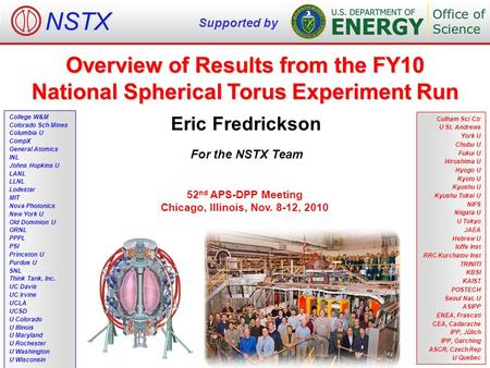 Overview of Results from the FY10 National Spherical Torus Experiment Run Eric Fredrickson For the NSTX Team NSTX Supported by College W&M Colorado Sch.