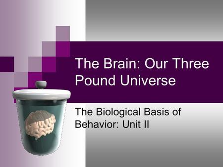 The Brain: Our Three Pound Universe The Biological Basis of Behavior: Unit II.