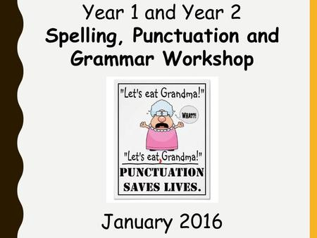 Year 1 and Year 2 Spelling, Punctuation and Grammar Workshop January 2016.