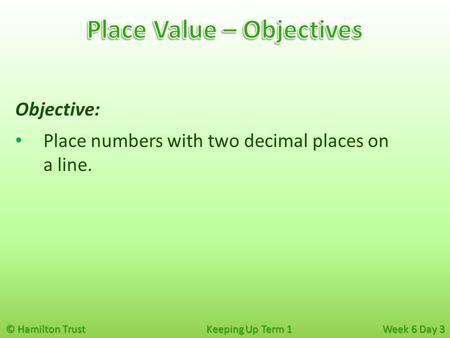 © Hamilton Trust Keeping Up Term 1 Week 6 Day 3 Objective: Place numbers with two decimal places on a line.