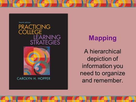 Mapping A hierarchical depiction of information you need to organize and remember.