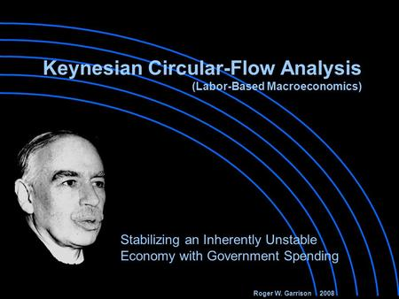 Stabilizing an Inherently Unstable Economy with Government Spending Roger W. Garrison 2008 Keynesian Circular-Flow Analysis (Labor-Based Macroeconomics)