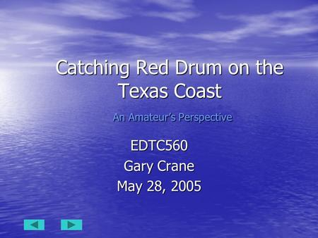 Catching Red Drum on the Texas Coast An Amateur's Perspective EDTC560 Gary Crane May 28, 2005.