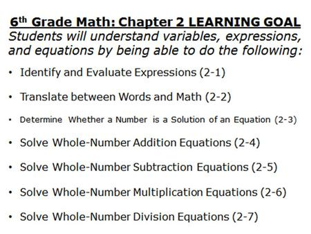 2-1 Variables and Expressions Course 1 6 th Grade Math HW: Page 50 #5-17 all.