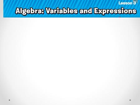 Algebra: a language of symbols including variables Variable: a symbol, usually a letter, used to represent a number.