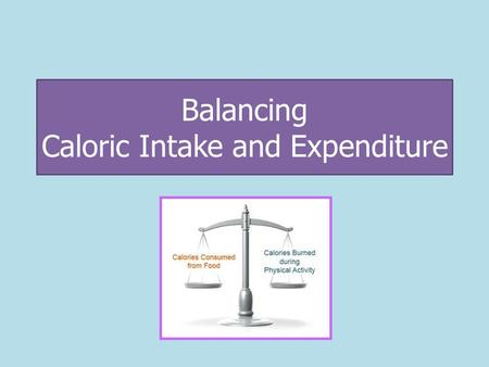 Balancing Caloric Intake and Expenditure. Caloric Intake Caloric intake is the amount of calories (energy) consumed. Calculate Your Recommended Daily.