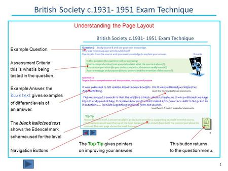British Society c.1931- 1951 Exam Technique 1 Understanding the Page Layout Example Question. Assessment Criteria: this is what is being tested in the.