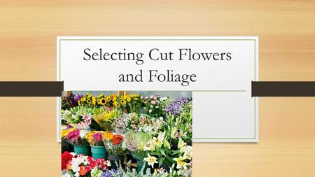 Selecting Cut Flowers and Foliage. Getting the flowers Order flowers from wholesalers Better availability Better color Better quality Better price If.