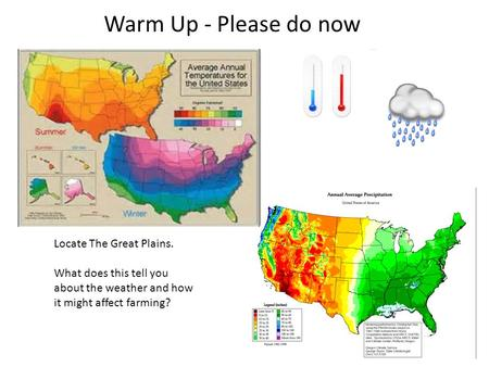 Warm Up - Please do now Locate The Great Plains. What does this tell you about the weather and how it might affect farming?