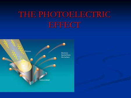 THE PHOTOELECTRIC EFFECT. When red light is incident on a clean metal surface: no electrons are released, however long light is shone onto it, however.