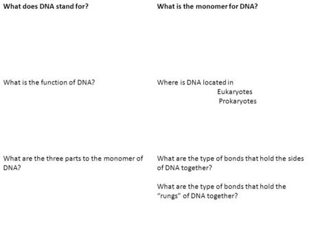 What does DNA stand for?What is the monomer for DNA? What is the function of DNA?Where is DNA located in Eukaryotes Prokaryotes What are the three parts.