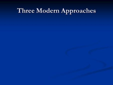 Three Modern Approaches. Introduction Rawls, Nozick, and MacIntyre Rawls, Nozick, and MacIntyre Have significant new approaches Have significant new approaches.