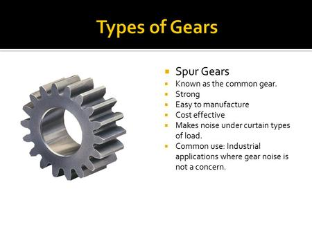  Spur Gears  Known as the common gear.  Strong  Easy to manufacture  Cost effective  Makes noise under curtain types of load.  Common use: Industrial.