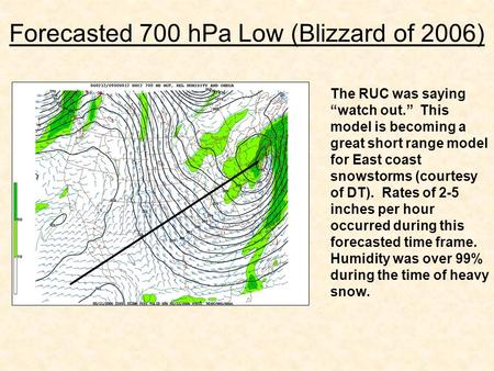 "Forecasted 700 hPa Low (Blizzard of 2006) The RUC was saying ""watch out."" This model is becoming a great short range model for East coast snowstorms (courtesy."
