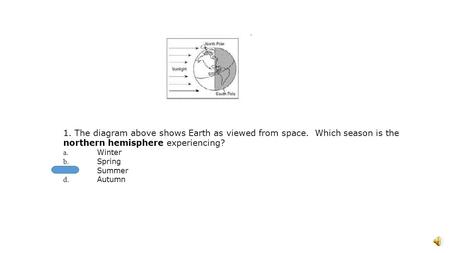 1. The diagram above shows Earth as viewed from space. Which season is the northern hemisphere experiencing? a. Winter b. Spring c. Summer d. Autumn.