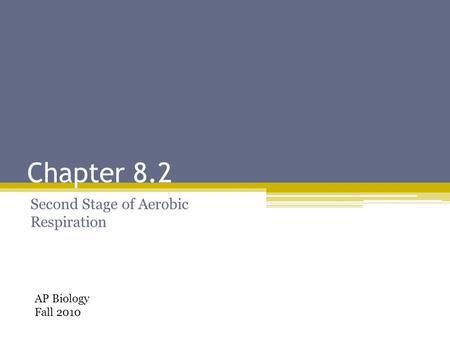 Chapter 8.2 Second Stage of Aerobic Respiration AP Biology Fall 2010.