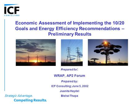Economic Assessment of Implementing the 10/20 Goals and Energy Efficiency Recommendations – Preliminary Results Prepared for : WRAP, AP2 Forum Prepared.