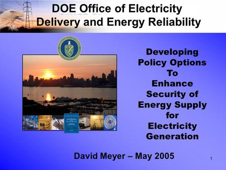 1 DOE Office of Electricity Delivery and Energy Reliability David Meyer – May 2005 Developing Policy Options To Enhance Security of Energy Supply for Electricity.