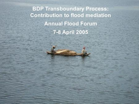 BDP Transboundary Process: Contribution to flood mediation Annual Flood Forum 7-8 April 2005.