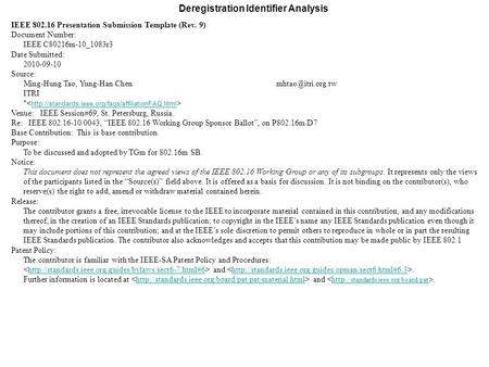 Deregistration Identifier Analysis IEEE 802.16 Presentation Submission Template (Rev. 9) Document Number: IEEE C80216m-10_1083r3 Date Submitted: 2010-09-10.