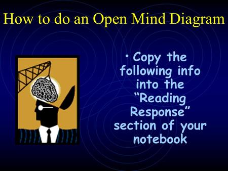 "How to do an Open Mind Diagram Copy the following info into the ""Reading Response"" section of your notebook."