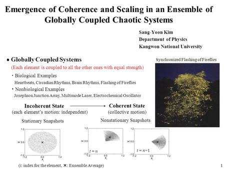 1 Emergence of Coherence and Scaling in an Ensemble of Globally Coupled Chaotic Systems Sang-Yoon Kim Department of Physics Kangwon National University.