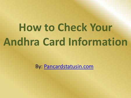 How to Check Your Andhra Card Information
