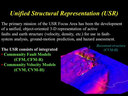 Unified Structural Representation (USR) The primary mission of the USR Focus Area has been the development of a unified, object-oriented 3-D representation.