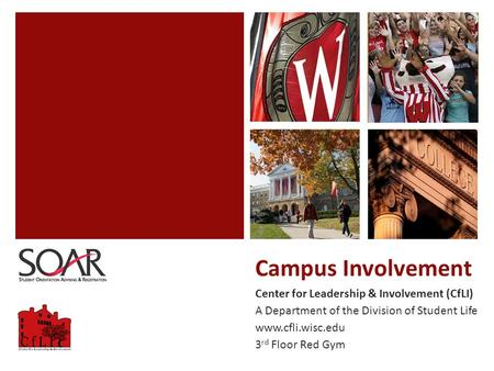 Campus Involvement Center for Leadership & Involvement (CfLI) A Department of the Division of Student Life www.cfli.wisc.edu 3 rd Floor Red Gym.