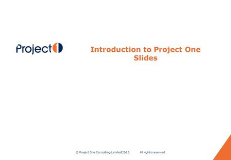 © Project One Consulting Limited 2015. All rights reserved. 0 Introduction to Project One Slides.