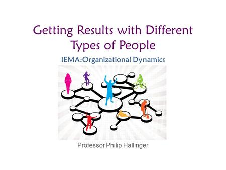Professor Philip Hallinger Getting Results with Different Types of People IEMA:Organizational Dynamics.