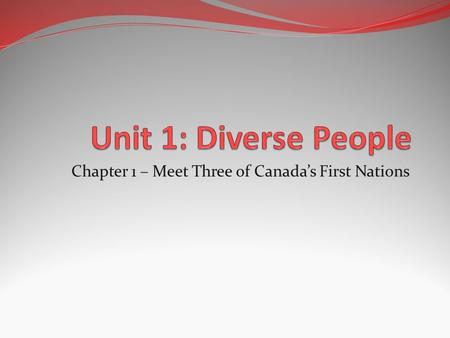 Chapter 1 – Meet Three of Canada's First Nations.