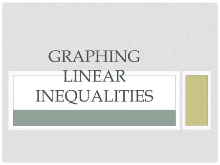 GRAPHING LINEAR INEQUALITIES How to Determine the Type of Line to Draw Inequality Symbol Type of Line > or <Dotted Line > or <Solid Line.
