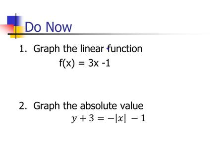 Do Now ●. 2.8 Two Variable Inequalities Target: I can graph two variable inequalities.