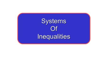 "SystemsOfInequalities. 7-1 Solving Systems by Graphing What is a system of linear equations? ""SOLUTION"" No solution Infinitely Many Solutions Page 342."