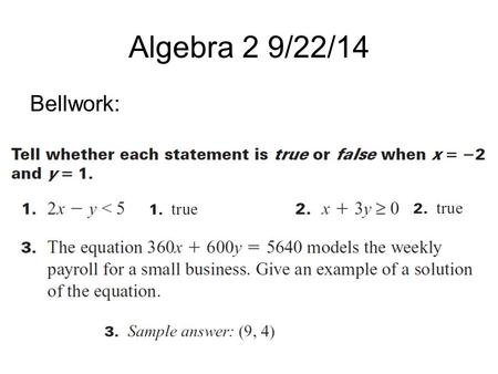 Algebra 2 9/22/14 Bellwork:. 2.8 – Graph Linear Inequalities in Two Variables A linear inequality in two variables can be written in one of these forms: