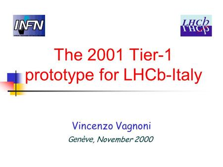 The 2001 Tier-1 prototype for LHCb-Italy Vincenzo Vagnoni Genève, November 2000.