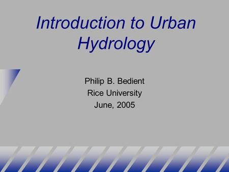 Introduction to Urban Hydrology