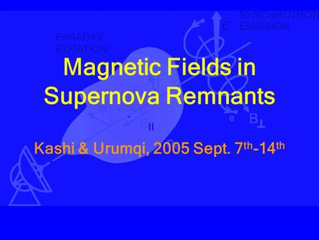Magnetic Fields in Supernova Remnants Kashi & Urumqi, 2005 Sept. 7 th -14 th.