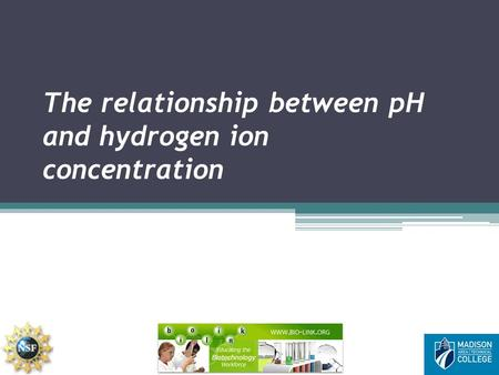 The relationship between pH and hydrogen ion concentration.