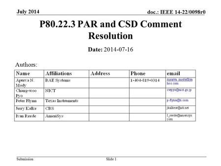 Submission doc.: IEEE 14-22/0098r0 July 2014 Slide 1 P80.22.3 PAR and CSD Comment Resolution Date: 2014-07-16 Authors: